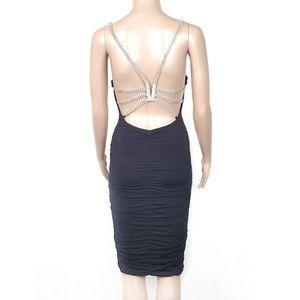 Vtg Cache Rhinestone Sexy V-back Ruched Dress 2